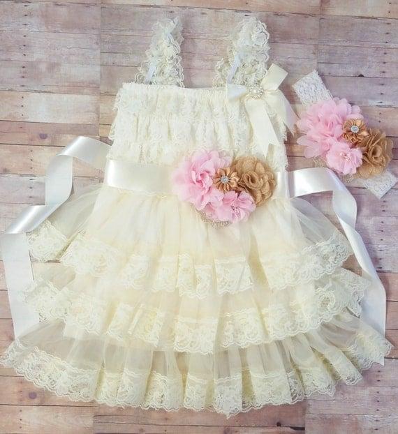 Country Flower Girl Dress, Flower Girl Lace Dress, Vintage Lace Flower Girl Dress, Ivory Lace Toddler Dress, Wedding Dress For Flower Girls