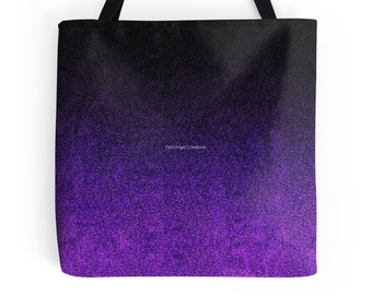 Purple and Black Glitter Gradient Tote Bag, 3 Sizes Available!