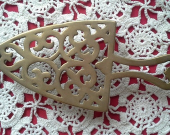 Vintage Brass Trivet Cast Iron Metal Trivet