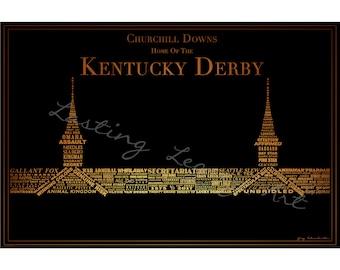 Derby Winners inSpired - Kentucky Derby Winner Typography Making Up Twin Spires - Print - Gold on Black