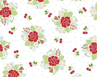 1/2 yd Sew Cherry 2 Main Floral Fabric by Lori Holt for Riley Blake C5800 White