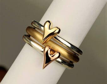 Silver and Gold Heart Stacking Rings, rose gold heart ring, gold halo ring, heart jewellery, heart stacking rings, handmade silver heart,