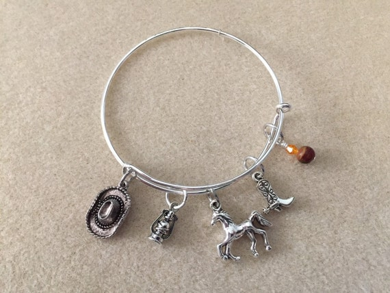 Adjustable Wire Bangle Charm Bracelet with Western / Horse Theme. Cowboy Hat & Boot, Lantern, Horse and Jasper Gemstone Bead with Crystal