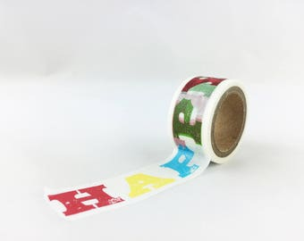 Happy Birthday Sayings Pattern Washi Tape, Colorful Card Making Supply, Japanese Tape, Birthday Party Supplies // Paper Tape //CR-W-M081