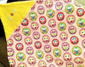 Owl throw blanket pillow set