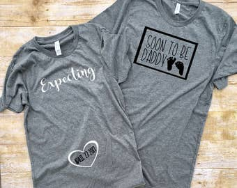 Pregnancy Reveal shirts, Couples pregnancy Announcement shirts, Daddy to be Shirt, Couples shirt, Mommy to Be Shirt, Mom to Be, Expecting