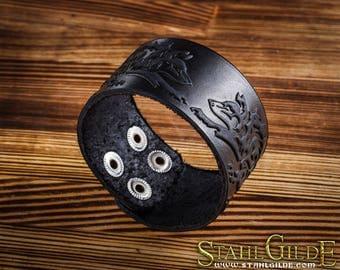 Leather Bracelet Cuff Wristband Celtic Knotwork Vikings Nordic Talisman Wolfes  Amulet