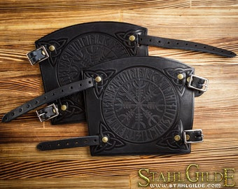 Leather Cuff Archery Arm Guards  Aegishjalmur Helm of Awe Runes Vikings with Celtic Carving Leather: a pair