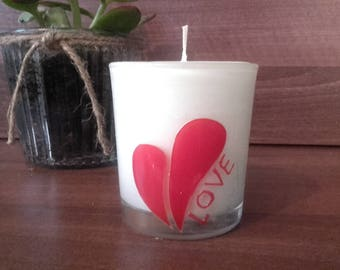 HandPainted Love Heart on Glass Jar, All Natural Aromatherapy Soya Wax Candle  - Lavender and Patchouli essential oils