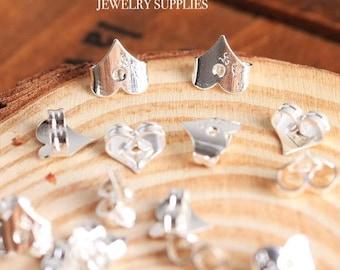 Silver Heart Earring Backs Stoppers