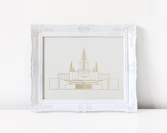 Oakland Temple - Hand Drawn - REAL FOIL - Gold Foil Print - LDS - Illustration - California - Mormon - Home Decor - Temple - Oakland