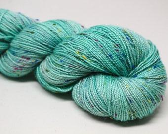 Seafoaming at the Mouth - Crayon sock fingering weight 85/15 superwash merino nylon NEP hand dyed semi-solid tonal yarn