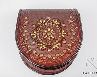 Round crossbody bag, Tooled leather purse,Shoulder brown bag, Leather bag with metal, Genuine leather bag, Tooled leather, Ethnic bag