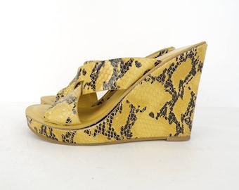 Vintage Handmade Yellow & Black Snake Print Heels Size 5, Yellow Heels, Snake Print, Snake Heels, Handmade Heels, Preppy, Wedge Heels,Summer