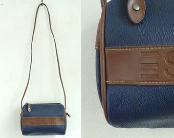 Vintage 90s Esprit Blue & Brown Cross Body Purse, Esprit Purse, Cross Body Purse, Leather Purse, Blue Purse, Blue Leather, 90s Purse