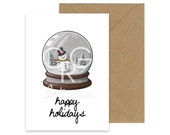 Happy Holidays - Snow Globe Greeting Card with Envelope