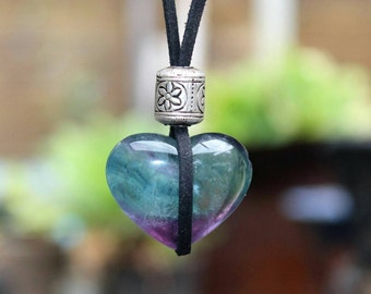 Fluorite puffy heart crystal necklace