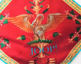 Vintage 1980s JOOP Scarf, Fashion Designer Scarf, Small  Scarf, Silk JOOP Bandana