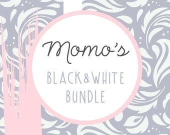 DISCOUNTED BUNDLE: Black & White By MomoDigital - Modern Art Poster Print, Black And White, Contemporary Digital Printable Set, Art Bundle