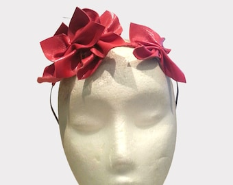 Handmade millinery red leather flower crown fascinator for Spring Racing