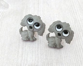 Grey Puppy Clip-On Earrings Dog Clip On Earrings Puppy Earrings for Girl Jewelry for Girls Cute Animal Party Favor Clip On Earring for Girls
