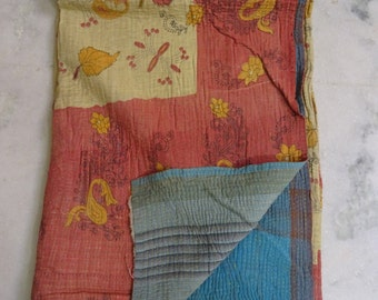 Indian Handmade Kantha Quilts Vintage Throw Bedcover Bedspread Gudri 1863 BY artisanofrajasthan