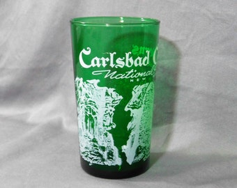 Vintage Green New Mexico Glass, Souvenir Glass, Green Drinking Glass Carlsbad Caverns, National Park Souvenir, Emerald Green 1960s Glass