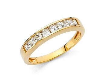 14k Solid Yellow Gold Diamond Wedding Band Ring 1.0 Ct Princess Cut Channel Set