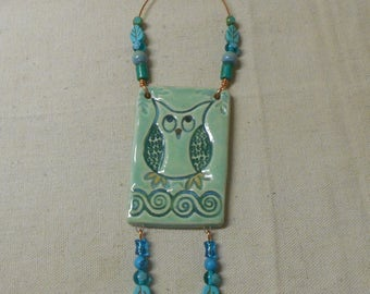 Owl on a Branch Celtic Spirals Wall Tile, Wall Plaque with Hand Formed Copper, Turquiose, Lucite, Glass, and Ceramic Beads