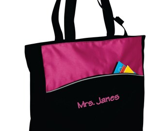 Personalized Tote Bag, Monogrammed Teachers Bag, Custom Teachers Name, Zippered Tote, Embroidered Name Tote Bag, Gift for Teacher. B1510
