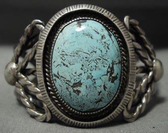 Unique! Vintage Navajo 'Earth Sky Blue' Turquoise Silver Flank Bracelet