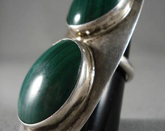One Of The Largest 'Domed Malachite' Silver Ring