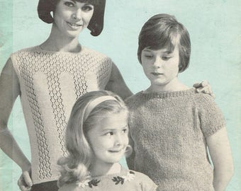 Vintage Women, Teens, & Child's Knitting Pattern - 3 Patterns: Charming 60's Blouses and Tops - instant download PDF - 1960s Retro Shell