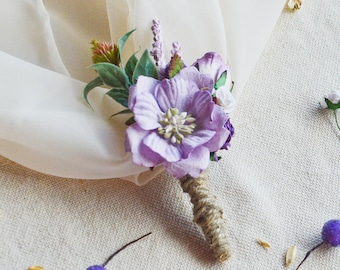 Rustic Boutonniere, Purple Boutonniere, Mens wedding boutonnieres, Wedding boutonniere, flower boutonniere, groomsmen button hole, Woodland