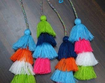 Bag charm/Huge Tassel Bag charms/Double row Tassels bag chain/Bag AccessoryKey chain/ charms