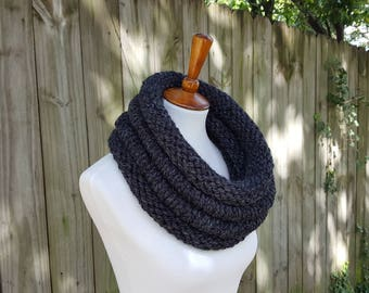 Knit Infinity Scarf, Chunky Knit Scarf, Knit Cowl, Knit Snood, Knit Hood, The Birch Cowl, Large - Charcoal