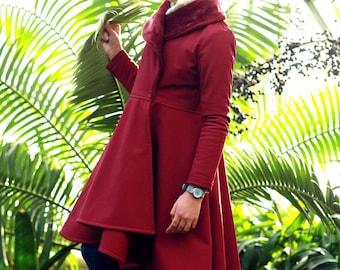 Red long winter coat, Girls coat jacket, Long fleece coat, Red coat jacket toddlers, Red fleece flannel, Winter softshell coat, Toddler coat