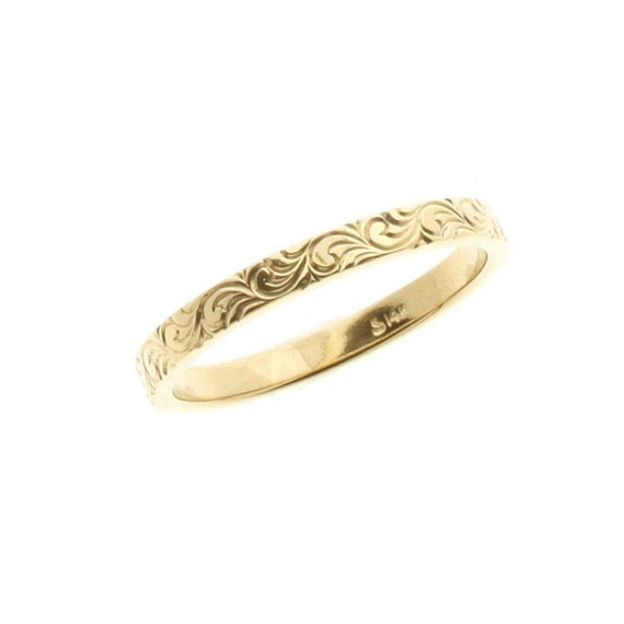 skinny ring engraved gold thumb ring thin gold band ring gold