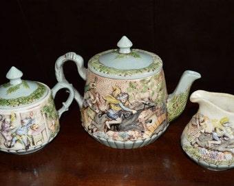 Cora Lee Italian Style Teapot, Creamer & Sugar Bowl