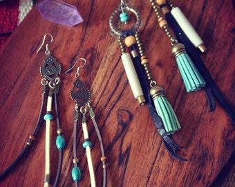Ethnic Bohemian Gipsy Earrings Hippie Brass Nomad Southwest Native Tribal