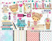 80%OFF - Book Clipart, Book Graphics, COMMERCIAL USE, Planner Accessories, Book Lover, Girl Reading, Read Clipart, Educational, Study