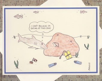 Funny Greeting Card, Quirky Card, Humor Card, Pun Card, Funny Fish, Under The Sea, Cartoon Card