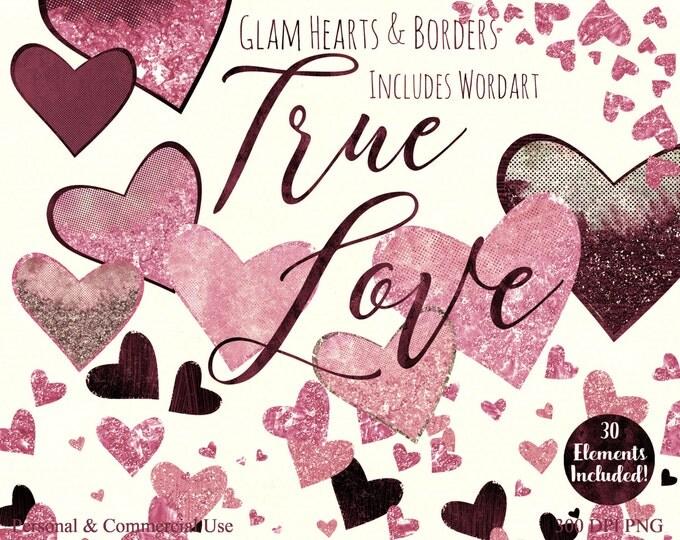 BLUSH PINK HEART Clipart Commercial Use Watercolor Clip Art True Love Wordart Metallic Rose Gold Glitter Heart Confetti Wedding Clipart