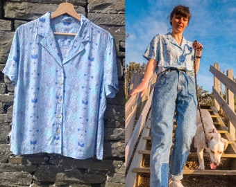 Vintage blue  blouse with seahorse shell print