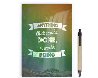 Notebook Personalise - Inspirational Quotes, Stationery, Recycled Paper, Lined, Blank Paper, Notebook,Inspire, Journal, A5 Notebook