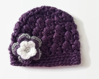 Baby Beanie with Flower - Purple