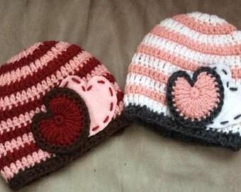 Valentine's Day Hat, Valentines Hat, Felt Heart Hat, Crochet Beanie, Pink Striped Hat, Red Striped Hat