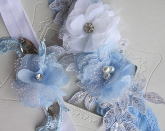 Bridal garter Set/ blue and white lace garter Wedding Garter Set,Toss Garter, accessories, weddings