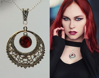 Victorian moon necklace Witch necklace Red necklace Marble necklace Witchy jewelry Victorian jewelry Gothic jewelry Fantasy necklace for her