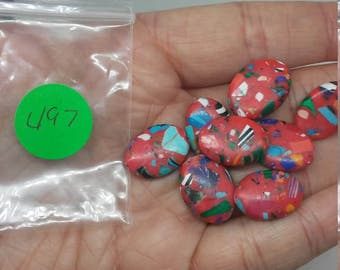 Red rainbow stone beads you get 1 bag with 8pcs in it (495-498)